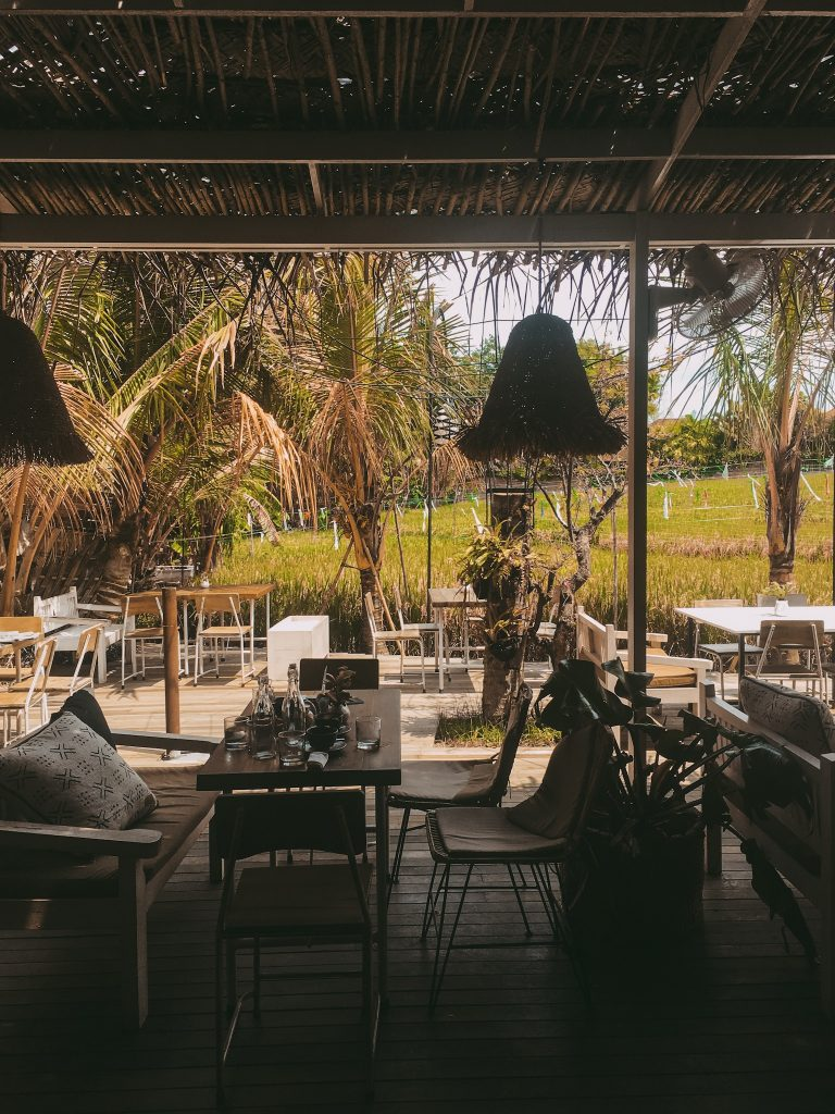 Working from a Bohemian Cafe in Bali Overlooking Rice Fields