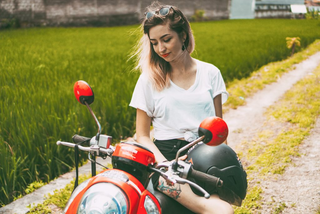 Bali Indonesia Motorbike scoopy girl