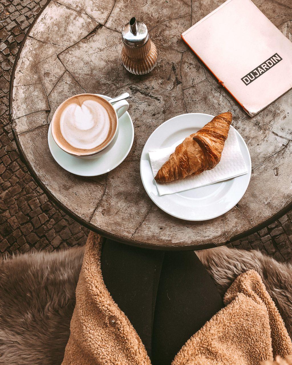 Cappuccino Croissant Flatlay