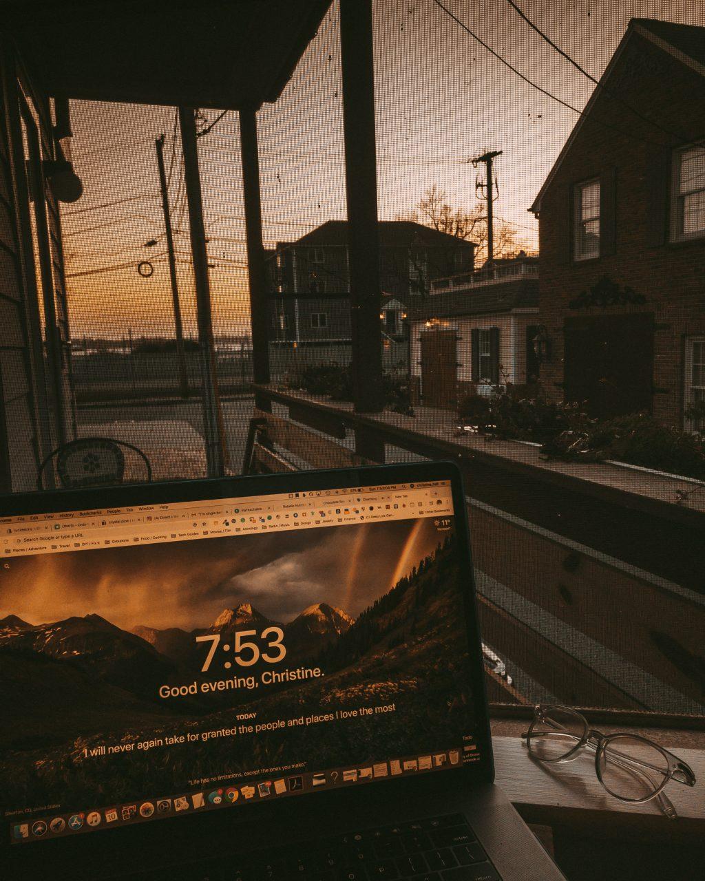 laptop sunset